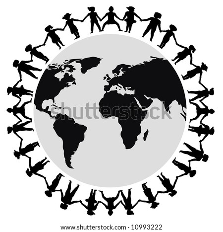 stick people holding hands around world. stick people holding hands
