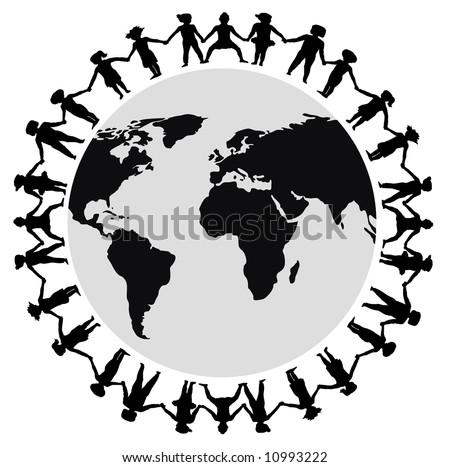stick people holding hands around world. stick people holding hands