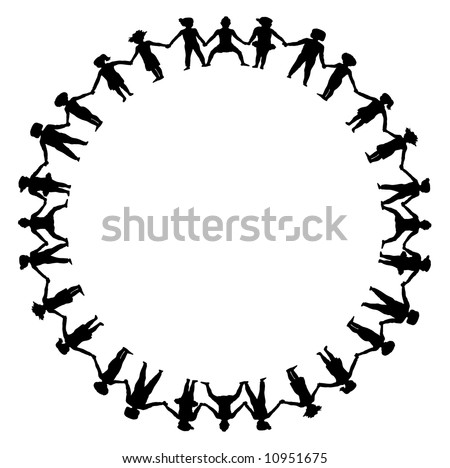 stock photo : children holding hands in a circle