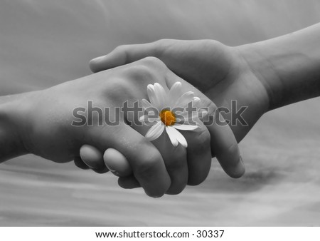 stock photo : Children holding hands, symbolizing friendship.