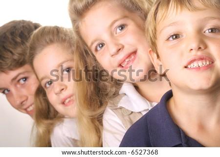 children in a line