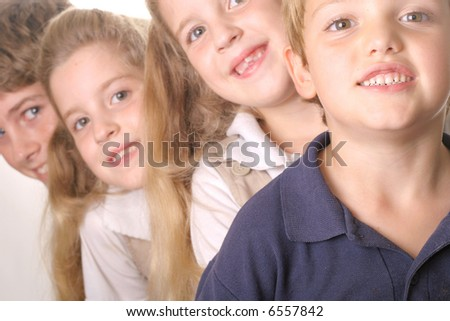 children in a line - cut