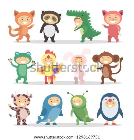 Children in animal costumes set. Funny cartoon cute babies.