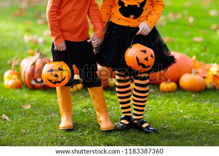 Children in black and orange witch costume and hat play with pumpkin and spider in autumn park on Halloween. Kids trick or treat. Boy and girl carving pumpkins. Family fun in fall. Dressed up child. #1183387360