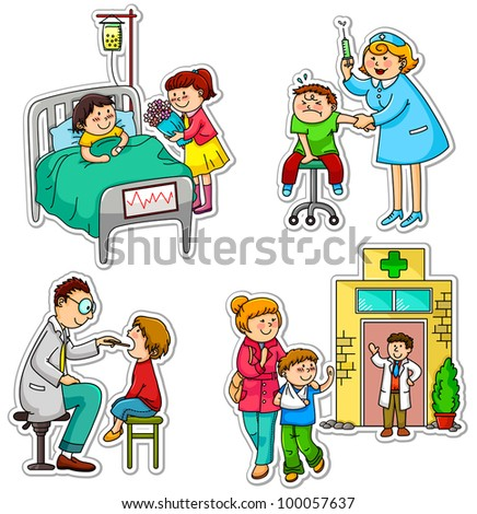 children in different situations related to health and medicine (vector available in my portfolio)