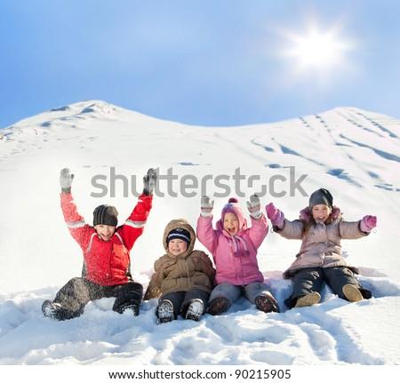 Children in the snow in winter.