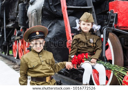 Children in uniform.Soldiers,the defenders of the Fatherland.