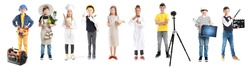Children in uniforms of different professions on white background
