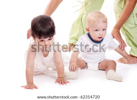children isolated on white