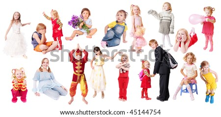 children isolated on white background