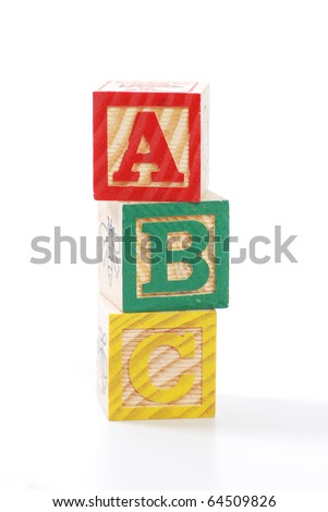 children letter blocks isolated on white