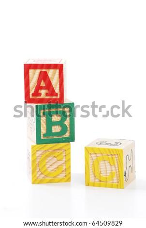 children letter blocks isolated on white