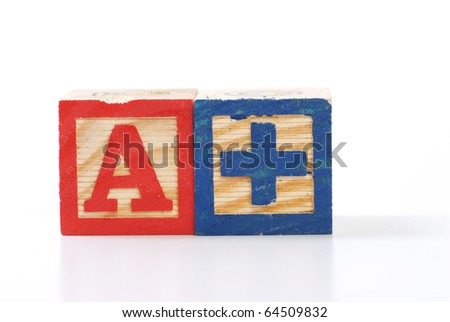 children letter blocks isolated on white - stock photo