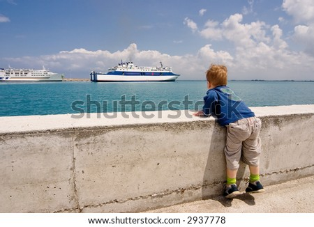 Children looks on the ship
