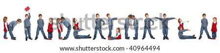 children making word KINDERGARTEN collage