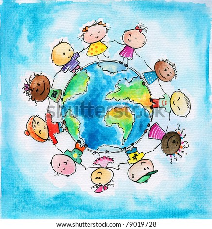 Children of different races hugging the planet Earth. I have created it myself with watercolors .