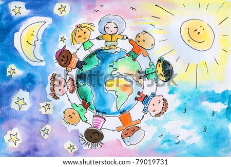 Children of different races hugging the planet Earth. In background a sun and a moon and stars.Picture I have created it myself with watercolors .