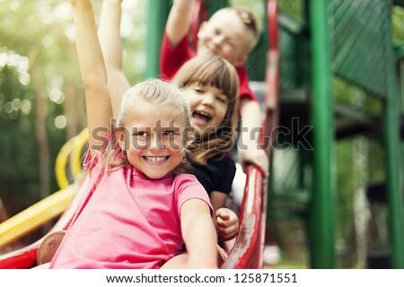 shutterstock children on slide 125871551 stock photo activity children ...