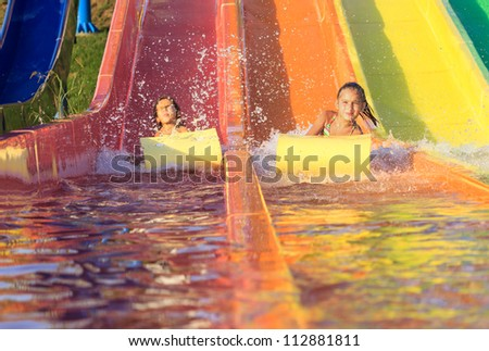 Children on the water slide