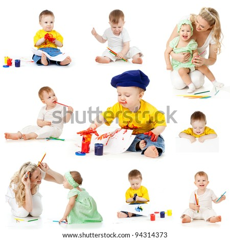 children painting and drawing pencils isolated on white background