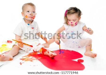Children painting isolated