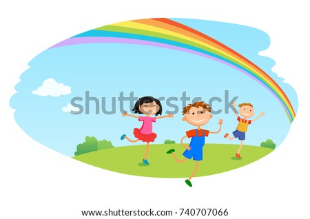 children play clouds design over sky background  illustration cartoon