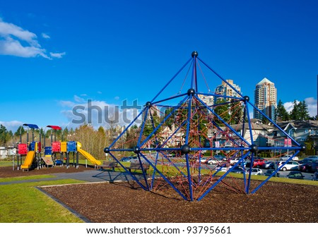 Children playground in a  park. North america, Vancouver.