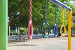 Children playground park in school at Thailand.(Focus on pink color)