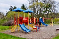 Children playground, while nobody due to  Covid- 19 pandemic currently (early May 2020) in New York State.