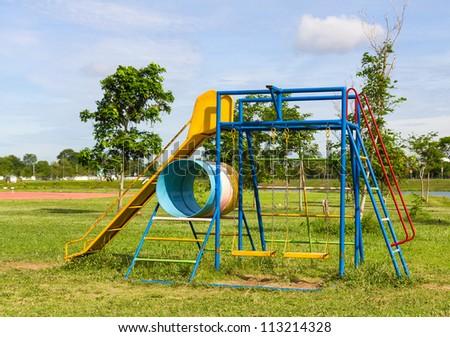 Children playground  with beautiful slides  in park