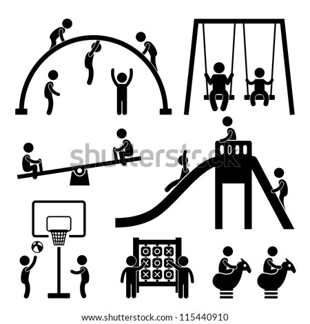Children Playing at Playground Park Outdoor Stick Figure Pictogram Icon