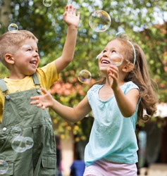 Children playing at the garden