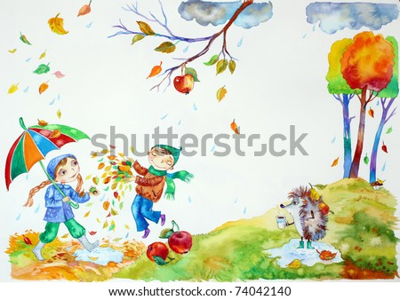Autumn Season Drawing Children Playing in Autumn