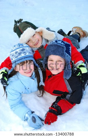stock photo : Children playing in snow