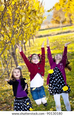 Children playing in the colorful fall leaves