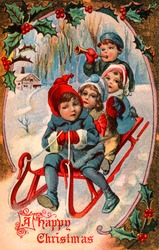 Children Playing in the Snow- Winter Sleigh Scene - a 1910 'Currier and Ives' type vintage greeting card illustration