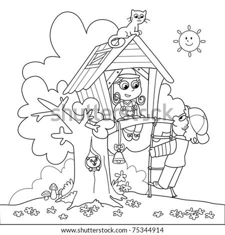 Children Playing In Tree House. Coloring Cartoon Illustration ...