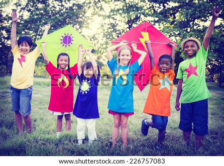 Children Playing Kite Happiness Bonding Friendship Concept