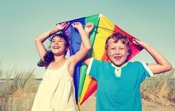 Children Playing Kite Happiness Cheerful Beach Summer Concept