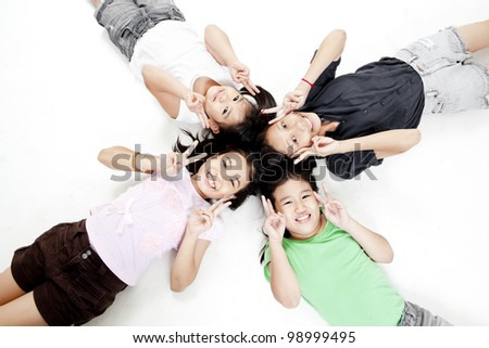 children playing on isolated background