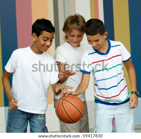 Children playing with a ball.