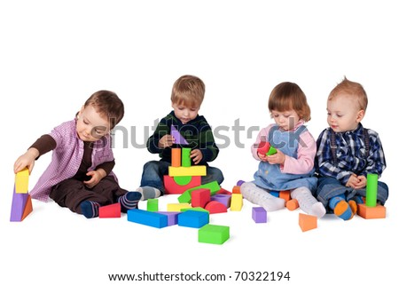 children playing with cubes
