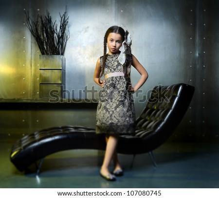 children portrait of the beautiful girl. 10 years.