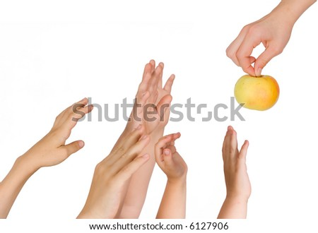 Children pull hands upwards