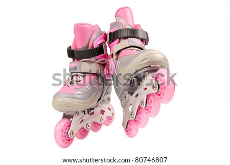 Children roller skates isolated on white background