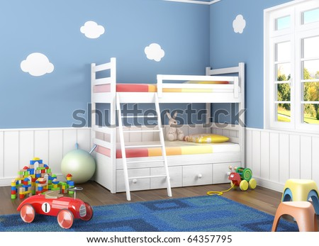 Children room in blue walls with bunk bed and lots of toys on the floor