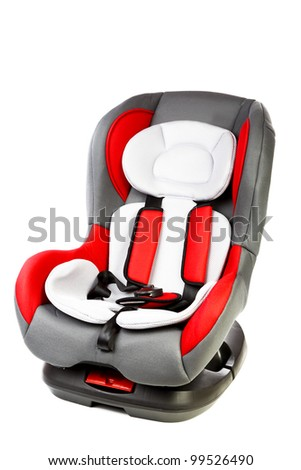 Children's automobile armchair isolated on a white background