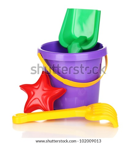 Children's beach toys isolated on white