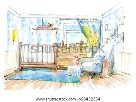Children's bedroom. Interior of a room newborn boy.Watercolor hand drawn illustration.