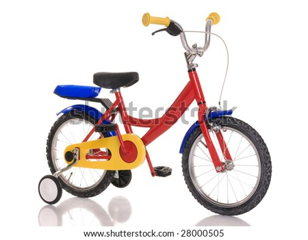 Children's bicycle on white
